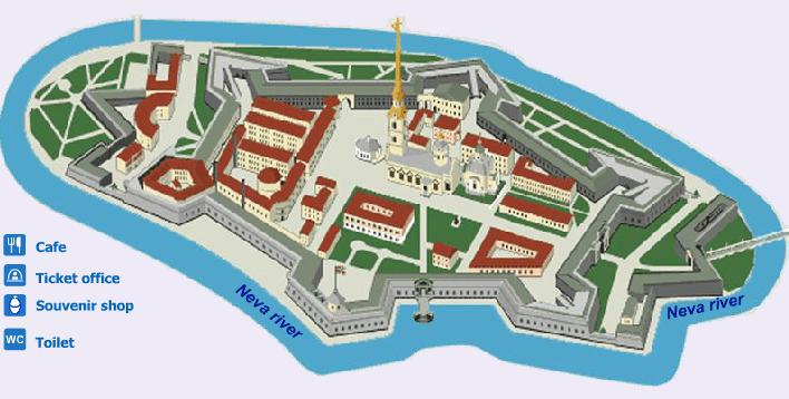 Mapa Fortaleza de São Pedro e São Paulo São Petersburgo Rússia Mundo Indefinido