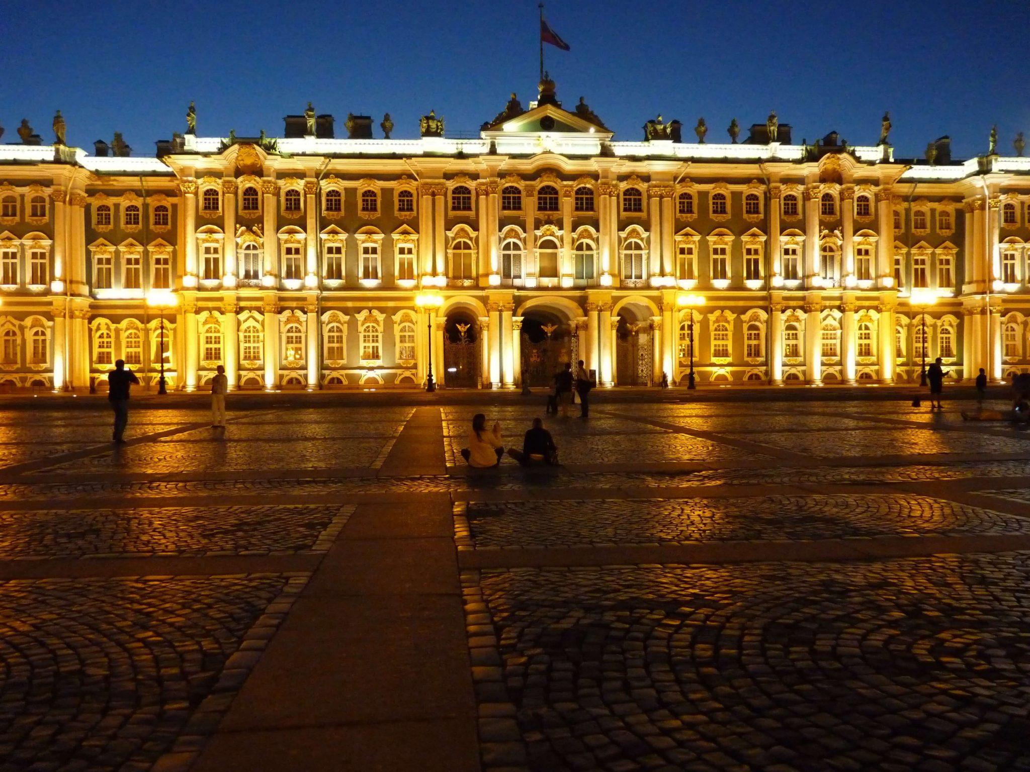 Hermitage à noite São Petersburgo Rússia Mundo Indefinido